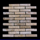 "MD-29 BRICK JOINT MESH  CHOCO TUMBLED 4"" X 1"""