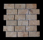 "MD-48 BRICK JOINT MESH CHOCOLATE TUMBLED 4"" X 2"""